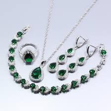 silver emerald necklace images 925 silver water drop women jewelry set green created emerald jpg