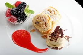 cuisine haute haute cuisine strudel with and berries dessert on