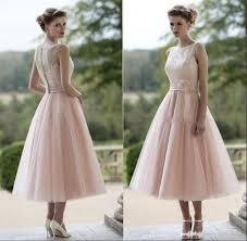 fall 2017 country style tea length bridesmaid dresses bateau neck