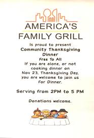 america s family grill offers community thanksgiving dinner