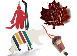 10 canadian tree ornaments w dish