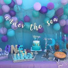mermaid party supplies the sea glitter banner in your choice of our chic cursive