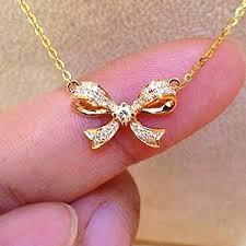 necklace diamond gold images 18k gold 0 14 carat diamond bowknot pendant necklace women bow jpg