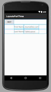 xamarin android table layout android scrollview tablelayout journaldev
