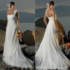 discount 2017 high waist chiffon beach wedding dress cheap