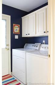 laundry room makeover with navy blue paint www decorchick com