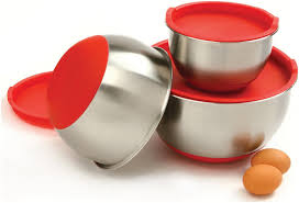 set of 3 norpro stainless steel mixing bowls with lids ek