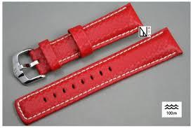 bracelet cuir montre images Bracelet montre cuir hirsch carbone rouge r sistant eau et sueur jpg