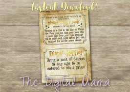 instant download harry potter diaper raffle invitation insert