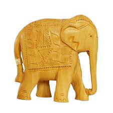buy small wood elephant statue with carvings madhurya