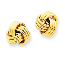 knot earrings 14k yellow gold basketweave knot earrings