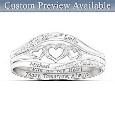 Ring With Name Engraved Womens Ring With All My Heart Personalized Diamond Ring