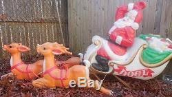 Antique Christmas Lights Vtg Antique Santa Sleigh Reindeer Rudolph Blow Mold Christmas