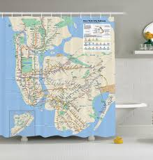 New York Mta Subway Map by New York City Subway Map Nyc Shower Curtain Fabric Transit
