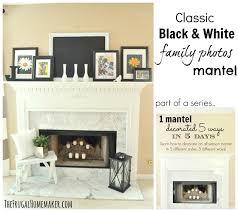 Classic Black & White family photos mantel part of 1 mantel