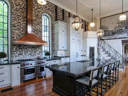 Plastic Kitchen Backsplash Kitchens With Brick Accent Walls White Wooden Double Door Cabinets