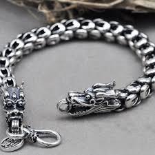mens bracelet sterling silver images Vintage double dragon 925 sterling silver men bracelet 61 06 for sale jpg