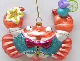 amazon com december diamonds orange glass crab in a tux ornament
