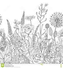 seamless line pattern with wildflowers stock vector image 72369984