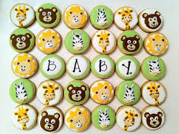baby shower animal cookie cupcake toppers