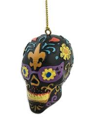 day of the dead skull ornament fleurty