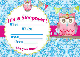 owl themed blue sleepover invitation card template for momecard