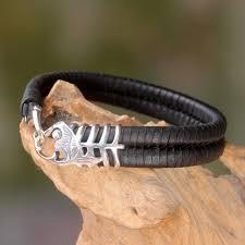 leather bracelets for men unique fish themed men u0027s leather and 925 silver bracelet gone