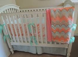 coral mint chevron baby bedding set babylovin