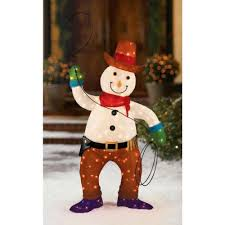 Lighted Snowman Outdoor Decoration by 48 In Tinsel Cowboy Snowman Walmart Com