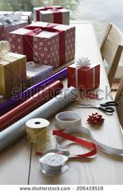Gift Wrapping Accessories - christmas gift wrapping stock images royalty free images