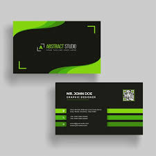 Business Cards Front And Back Horizontal Green And Black Business Card With Front And Back