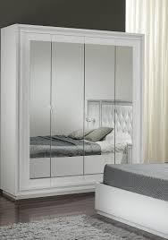 armoire design 4 portes avec miroir laquée blanche cristalline