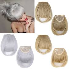 ladies hair pieces for gray hair lady silver gray forehead neat bangs fringe 2clips in on hairpiece