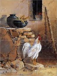 mural tiles for kitchen backsplash chickens roosters farm morning kitchen backsplash tile