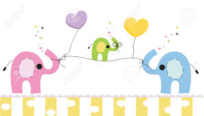 cute elephants and baby elephant baby shower greeting card