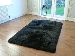 stylish black sheepskin rug fibre by auskin long wool straight