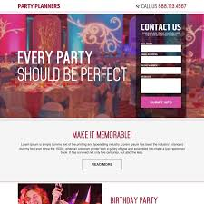 cing birthday party effective landing page design for party planner professional at a