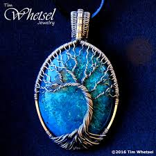 silver wire necklace images Silver wire wrap tree of life pendant blue glow in the dark jpg
