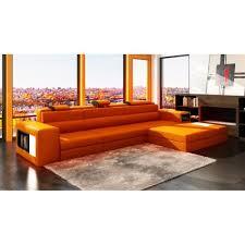 achat canapé canapé d angle en cuir orange design avec lumière achat vente