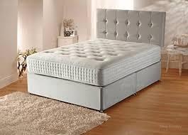 plush velvet divan bed set with orthopaedic mattress headboard and