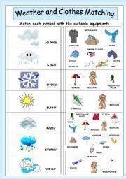 vocabulary matching worksheet weather ell weather