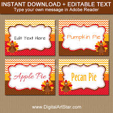 thanksgiving place cards with turkeys chevron dots digital