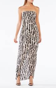 strapless animal print gown