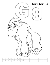 gorilla coloring pages coloring pages alphabet g is for gorilla