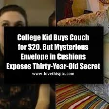 college kid buys couch for 20 but mysterious envelope in