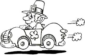 driving leprechaun coloring book page leprechaun and race car