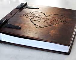 personalized wedding photo album large personalized rustic wood photo album w leather spine