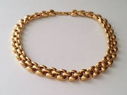 link choker necklace images Nina ricci 22kt gold plated panther link choker necklace jpg
