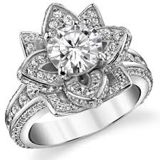 lotus engagement ring fb moissanite diamond lotus flower engagement ring