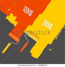 roller brush painting banner your business stock vector 457655299